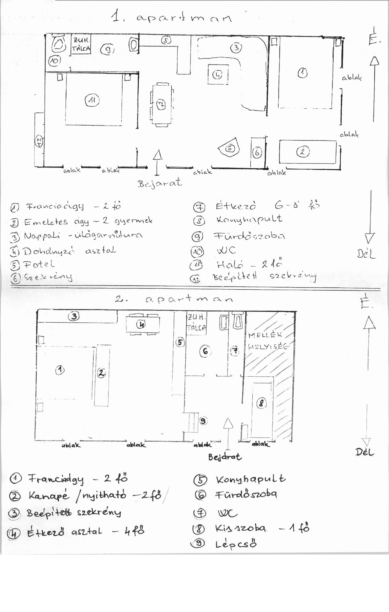 Földszinti 1. és 2. apartmanok alaprajza